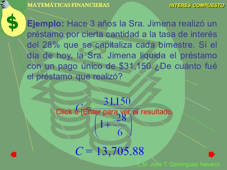 MATEMÁTICAS FINANCIERAS INTERÉS COMPUESTO L.M. José T. Domínguez Navarro Ejemplo: Hace 3 años la Sra. Jimena realizó un préstamo por cierta cantidad a