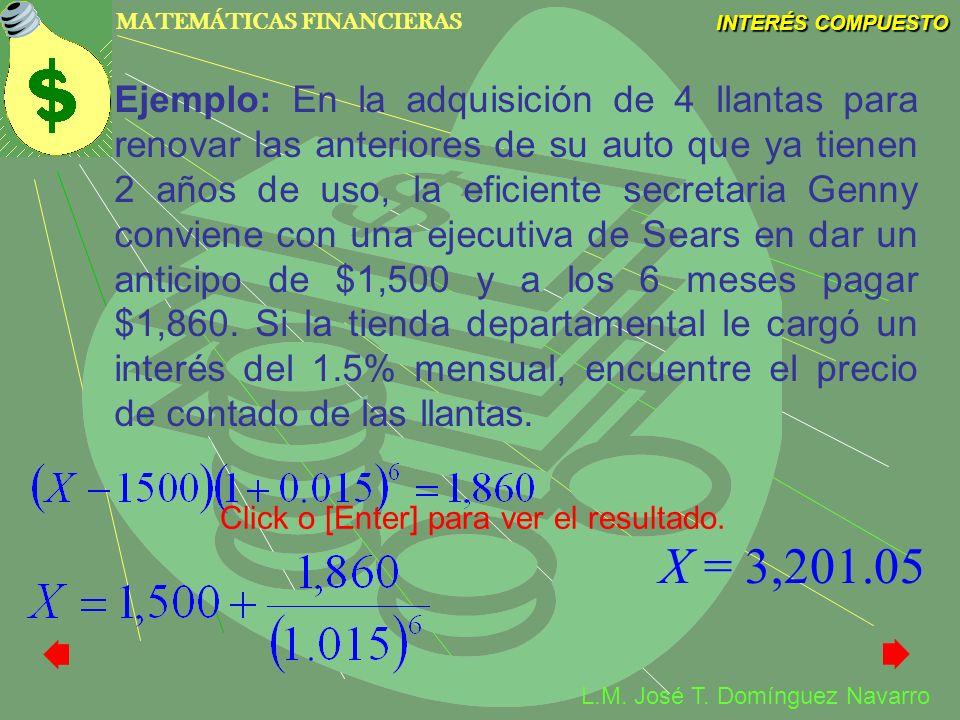 MATEMÁTICAS FINANCIERAS INTERÉS COMPUESTO L.M. José T. Domínguez Navarro Ejemplo: En la adquisición de 4 llantas para renovar las anteriores de su aut
