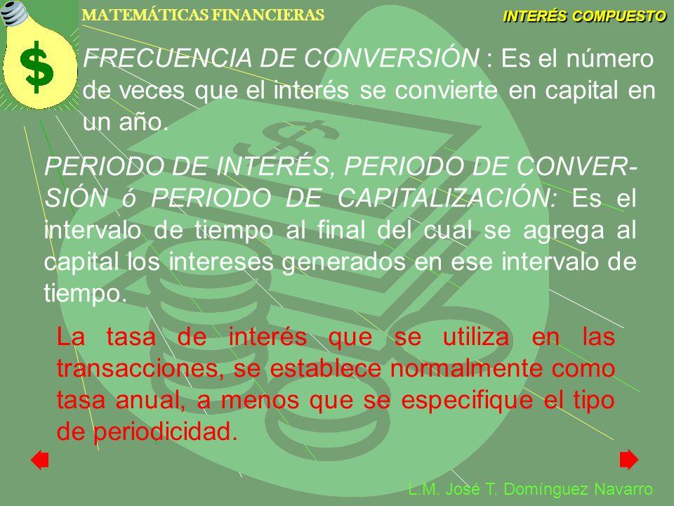 MATEMÁTICAS FINANCIERAS INTERÉS COMPUESTO L.M. José T. Domínguez Navarro FRECUENCIA DE CONVERSIÓN : Es el número de veces que el interés se convierte