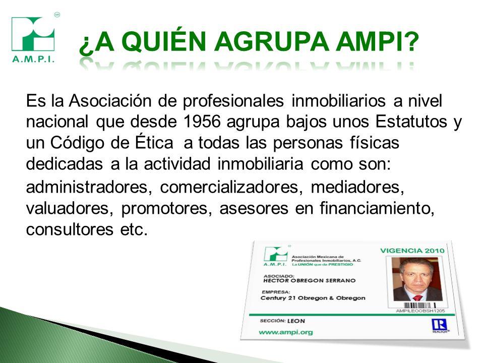 Es la Asociación de profesionales inmobiliarios a nivel nacional que desde 1956 agrupa bajos unos Estatutos y un Código de Ética a todas las personas físicas dedicadas a la actividad inmobiliaria como son: administradores, comercializadores, mediadores, valuadores, promotores, asesores en financiamiento, consultores etc.