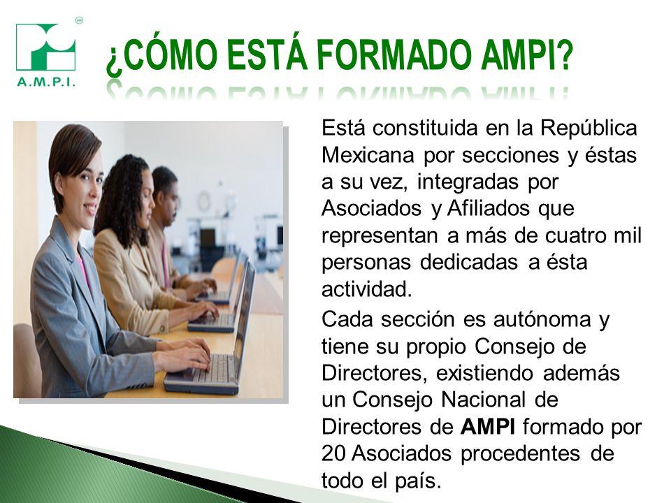 Está constituida en la República Mexicana por secciones y éstas a su vez, integradas por Asociados y Afiliados que representan a más de cuatro mil personas dedicadas a ésta actividad.