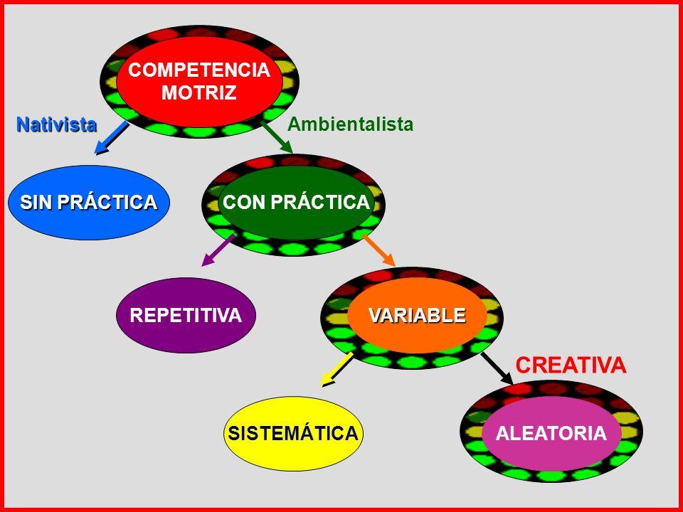 COMPETENCIA MOTRIZ SIN PRÁCTICA CON PRÁCTICA NativistaAmbientalista REPETITIVAVARIABLE SISTEMÁTICAALEATORIA CREATIVA