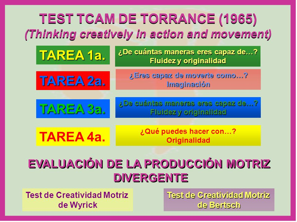 TEST TCAM DE TORRANCE (1965) (Thinking creatively in action and movement) TEST TCAM DE TORRANCE (1965) (Thinking creatively in action and movement) TA