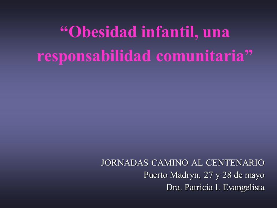 Obesidad infantil, una responsabilidad comunitaria JORNADAS CAMINO AL CENTENARIO Puerto Madryn, 27 y 28 de mayo Dra. Patricia I. Evangelista