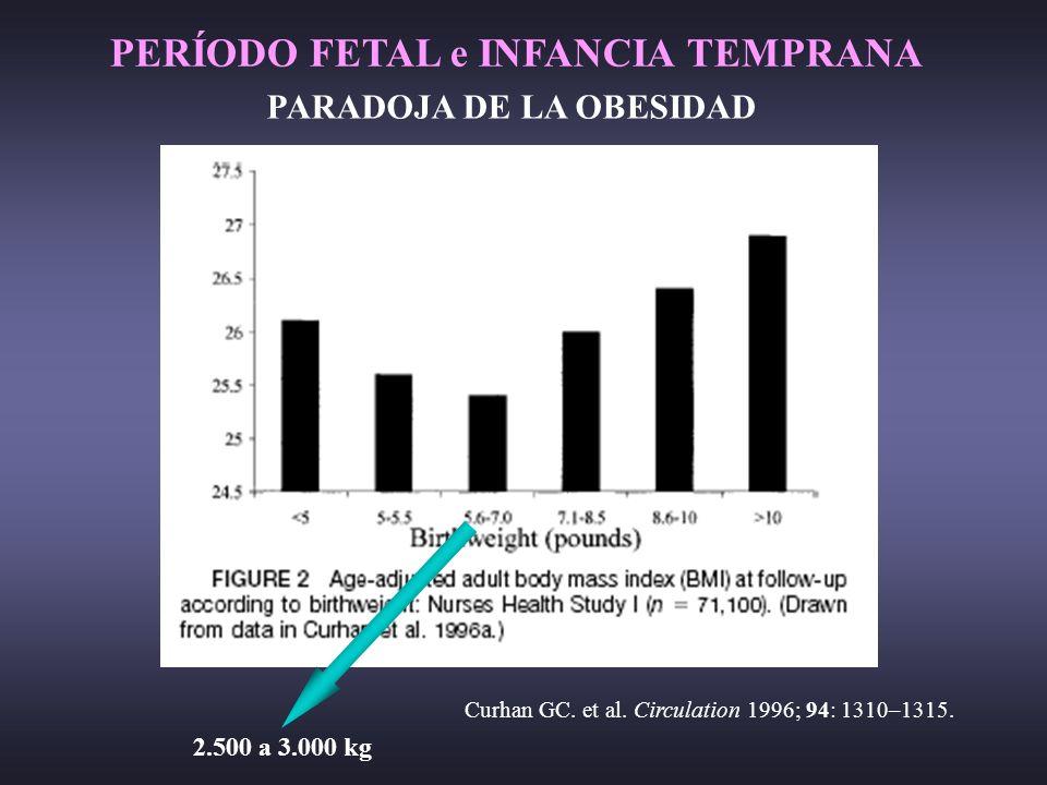 Curhan GC. et al. Circulation 1996; 94: 1310–1315. PARADOJA DE LA OBESIDAD 2. 2.500 a 3.000 kg PERÍODO FETAL e INFANCIA TEMPRANA