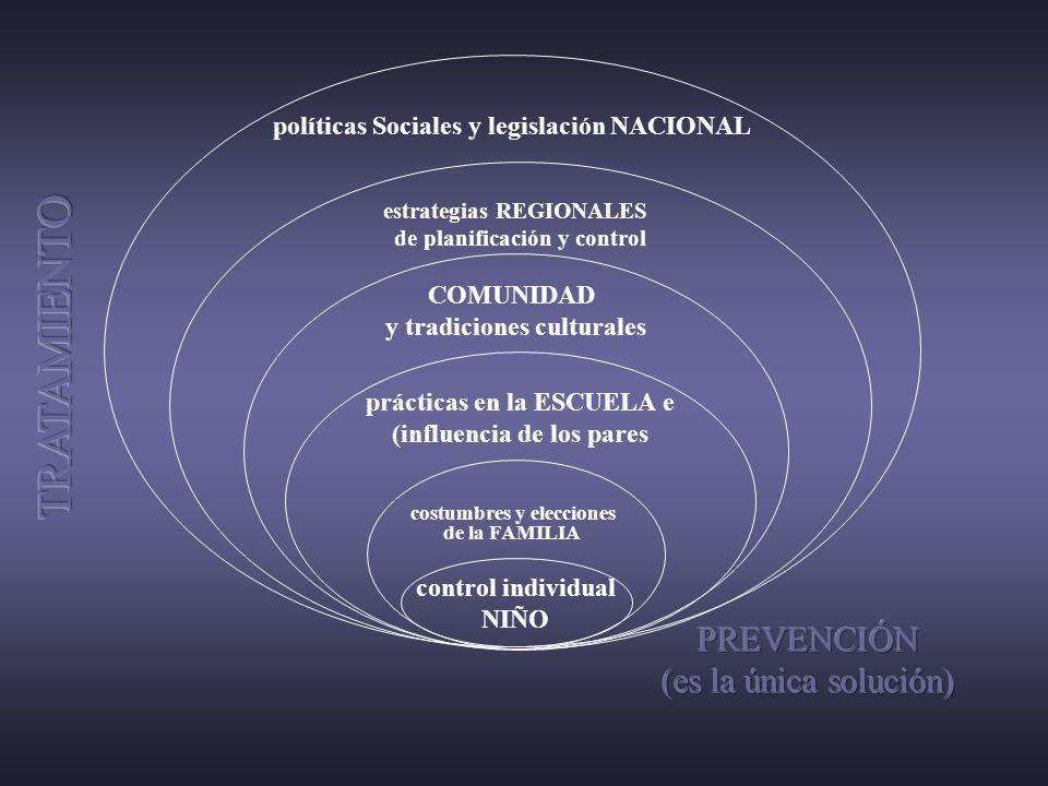 control individual NIÑO costumbres y elecciones de la FAMILIA prácticas en la ESCUELA e (influencia de los pares COMUNIDAD y tradiciones culturales es