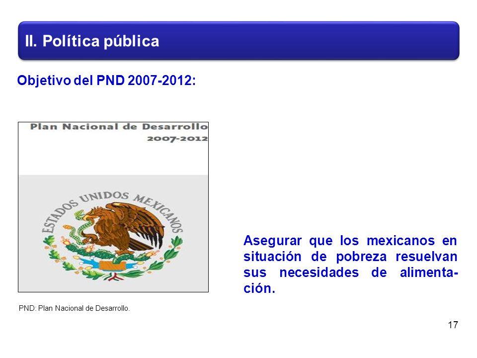 II. Política pública 17 Asegurar que los mexicanos en situación de pobreza resuelvan sus necesidades de alimenta- ción. PND: Plan Nacional de Desarrol