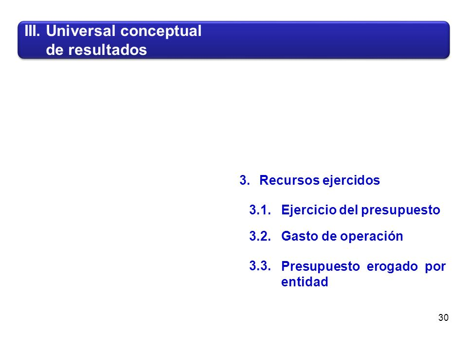 III. Universal conceptual de resultados III. Universal conceptual de resultados 30 3.1.