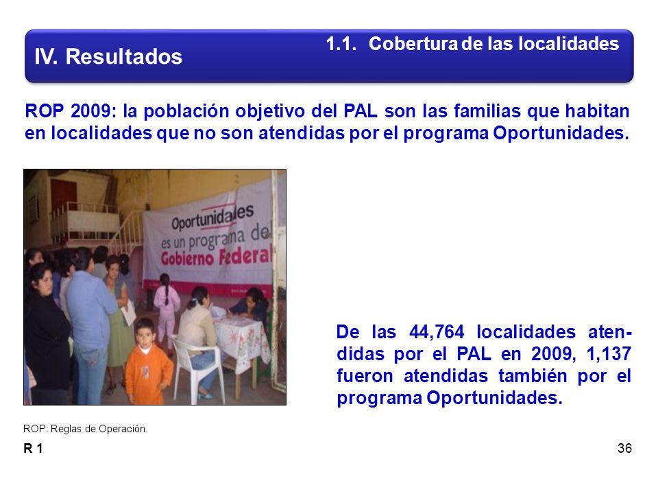 De las 44,764 localidades aten- didas por el PAL en 2009, 1,137 fueron atendidas también por el programa Oportunidades.