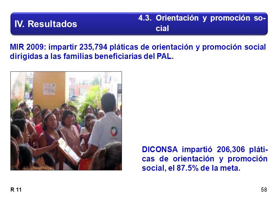 MIR 2009: impartir 235,794 pláticas de orientación y promoción social dirigidas a las familias beneficiarias del PAL.