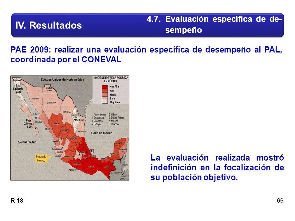 PAE 2009: realizar una evaluación específica de desempeño al PAL, coordinada por el CONEVAL R 18 IV.