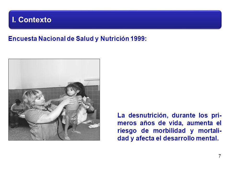 En 1999 el 17.8% de los niños menores de cinco años presenta- ron algún grado de desnutrición.
