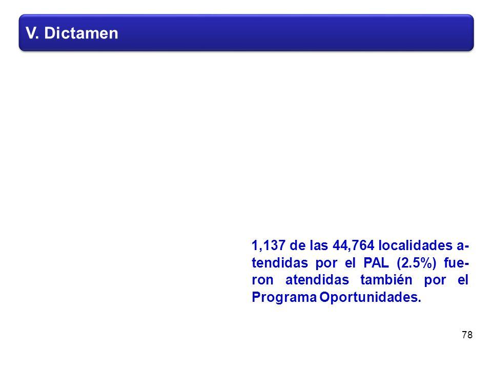 V. Dictamen 78 1,137 de las 44,764 localidades a- tendidas por el PAL (2.5%) fue- ron atendidas también por el Programa Oportunidades.