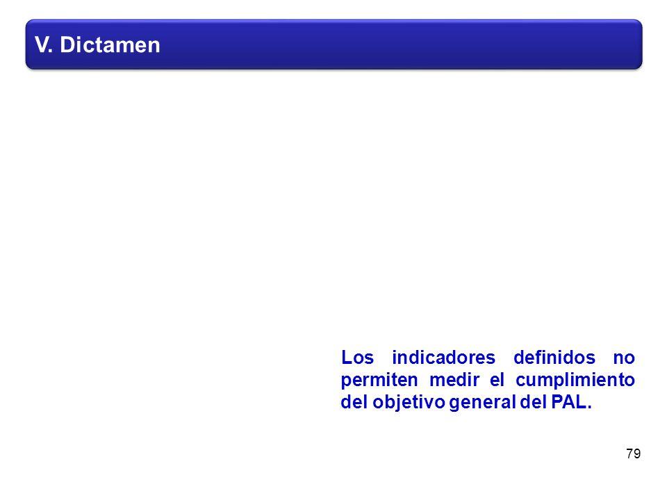 V. Dictamen Los indicadores definidos no permiten medir el cumplimiento del objetivo general del PAL. 79