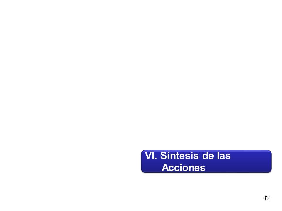 VI. Síntesis de las Acciones VI. Síntesis de las Acciones 84