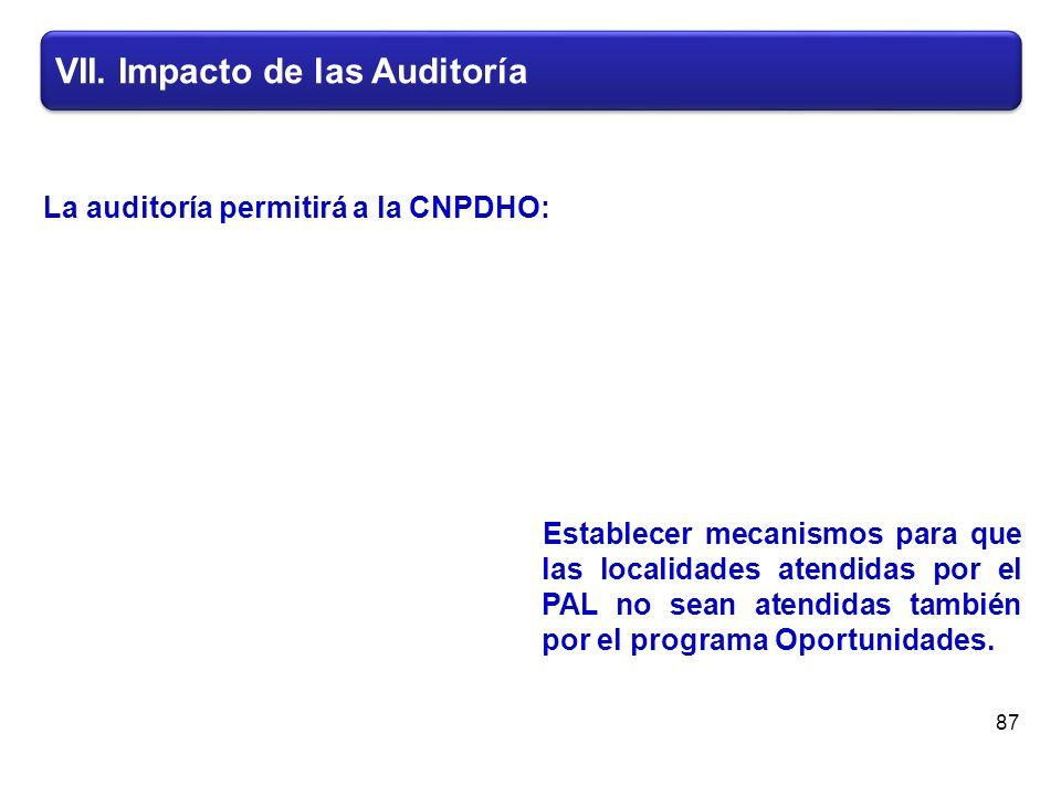 VII. Impacto de las Auditoría Establecer mecanismos para que las localidades atendidas por el PAL no sean atendidas también por el programa Oportunida