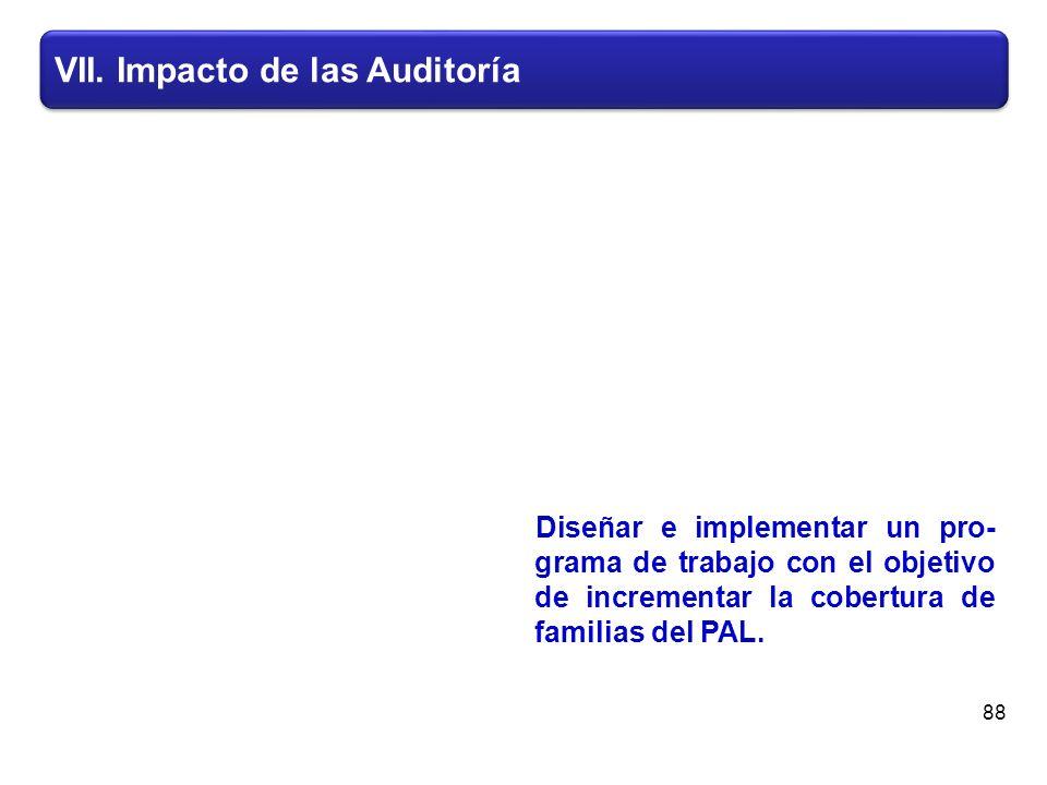 VII. Impacto de las Auditoría Diseñar e implementar un pro- grama de trabajo con el objetivo de incrementar la cobertura de familias del PAL. 88