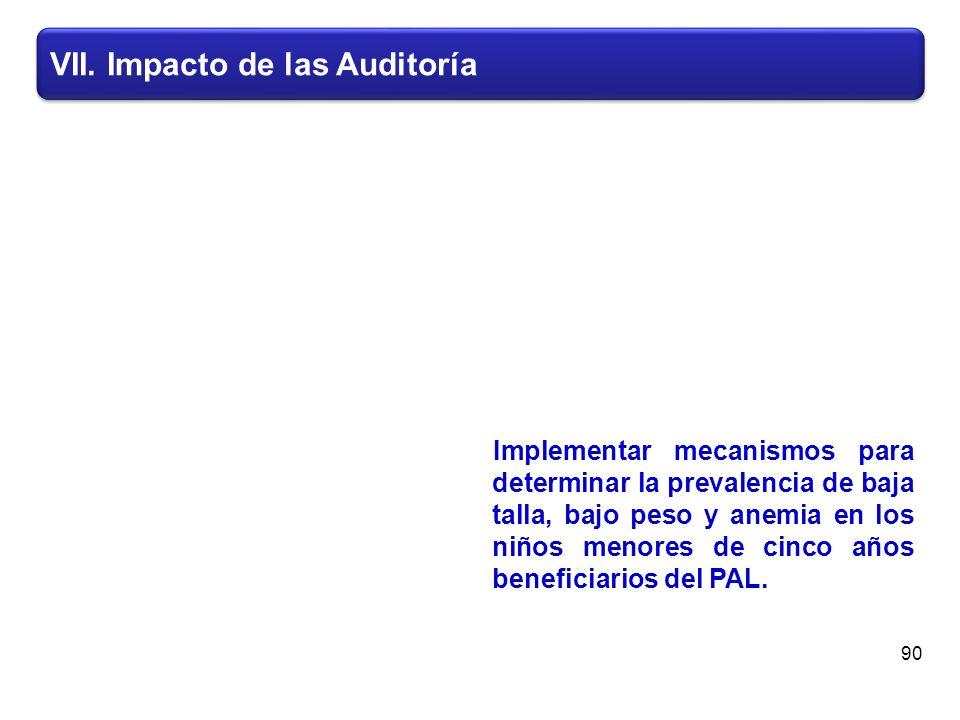 VII. Impacto de las Auditoría Implementar mecanismos para determinar la prevalencia de baja talla, bajo peso y anemia en los niños menores de cinco añ
