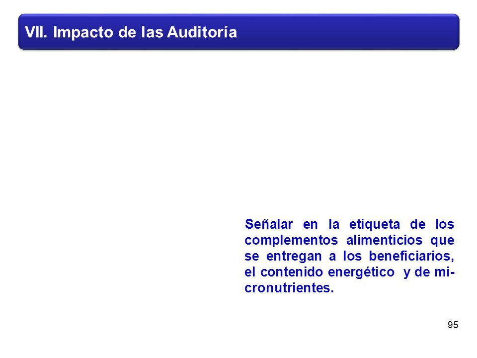 VII. Impacto de las Auditoría Señalar en la etiqueta de los complementos alimenticios que se entregan a los beneficiarios, el contenido energético y d