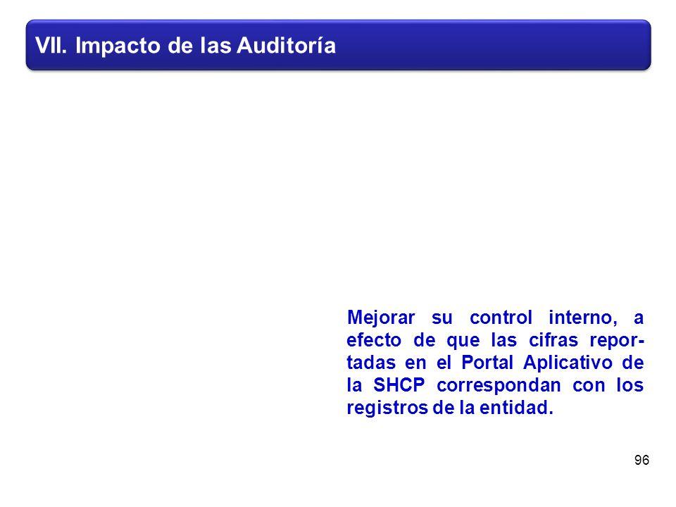 VII. Impacto de las Auditoría Mejorar su control interno, a efecto de que las cifras repor- tadas en el Portal Aplicativo de la SHCP correspondan con