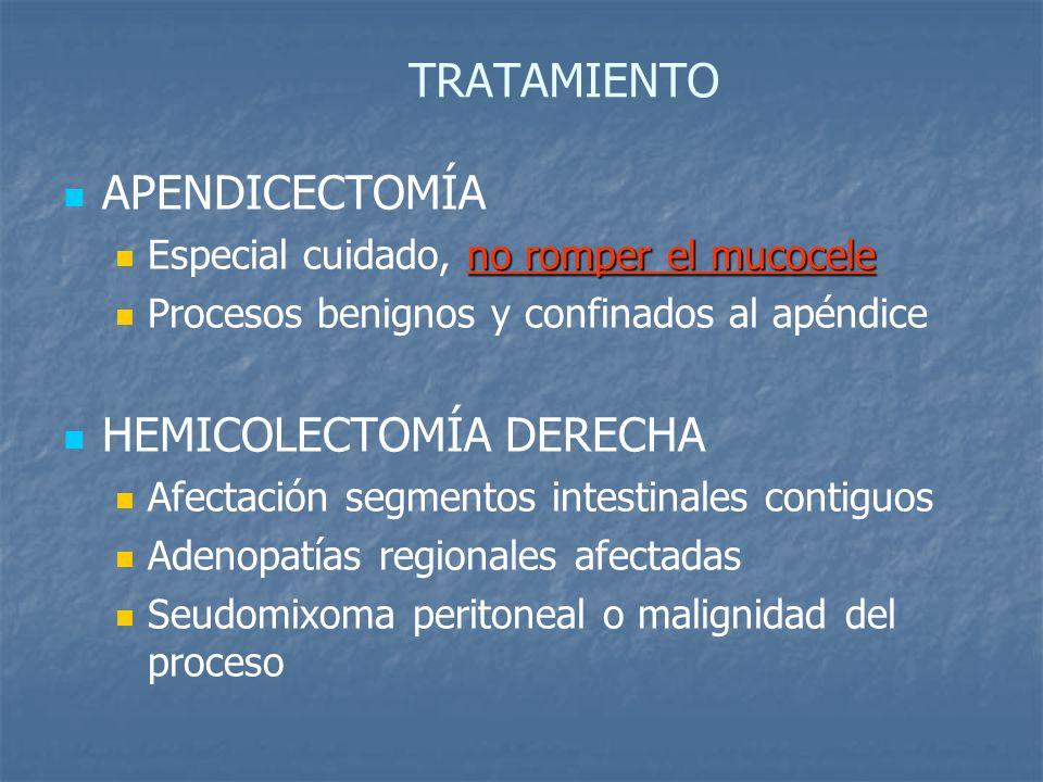 TRATAMIENTO APENDICECTOMÍA no romper el mucocele Especial cuidado, no romper el mucocele Procesos benignos y confinados al apéndice HEMICOLECTOMÍA DERECHA Afectación segmentos intestinales contiguos Adenopatías regionales afectadas Seudomixoma peritoneal o malignidad del proceso
