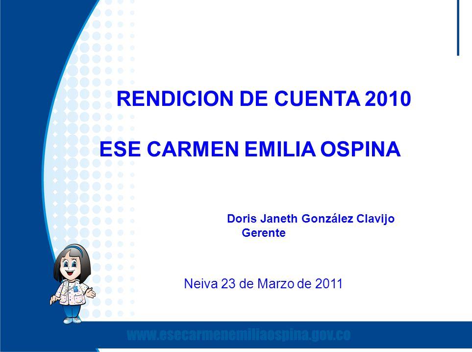 RENDICION DE CUENTA 2010 ESE CARMEN EMILIA OSPINA Doris Janeth González Clavijo Gerente Neiva 23 de Marzo de 2011