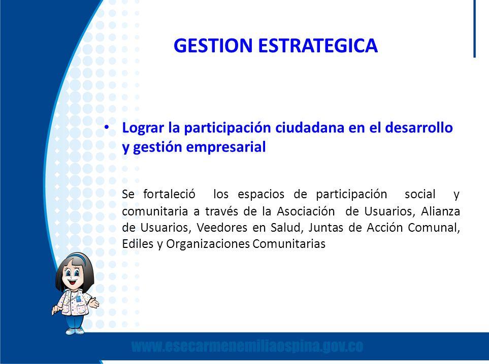 GESTION ESTRATEGICA Lograr la participación ciudadana en el desarrollo y gestión empresarial Se fortaleció los espacios de participación social y comu