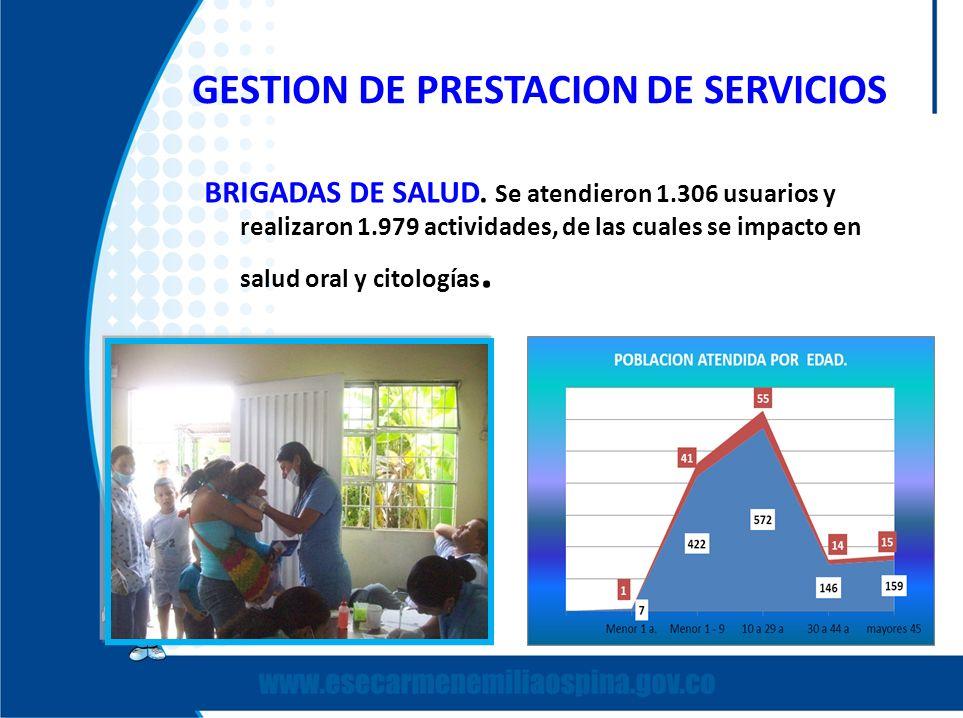BRIGADAS DE SALUD. Se atendieron 1.306 usuarios y realizaron 1.979 actividades, de las cuales se impacto en salud oral y citologías.