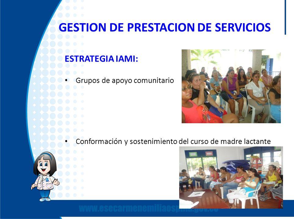 GESTION DE PRESTACION DE SERVICIOS ESTRATEGIA IAMI: Grupos de apoyo comunitario Conformación y sostenimiento del curso de madre lactante