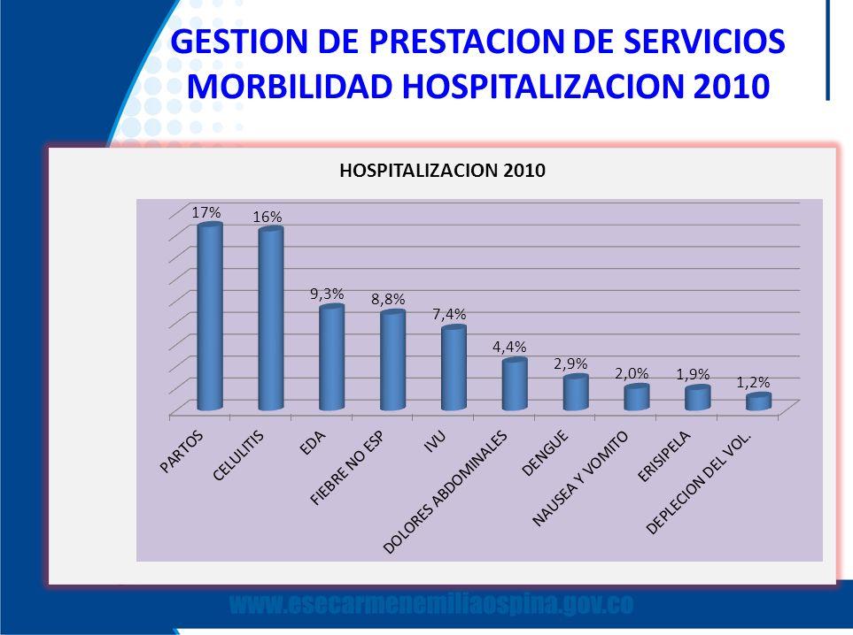GESTION DE PRESTACION DE SERVICIOS MORBILIDAD HOSPITALIZACION 2010