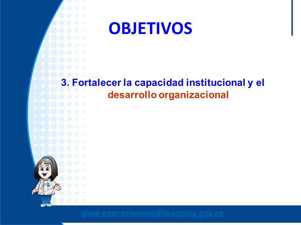 OBJETIVOS 3. Fortalecer la capacidad institucional y el desarrollo organizacional