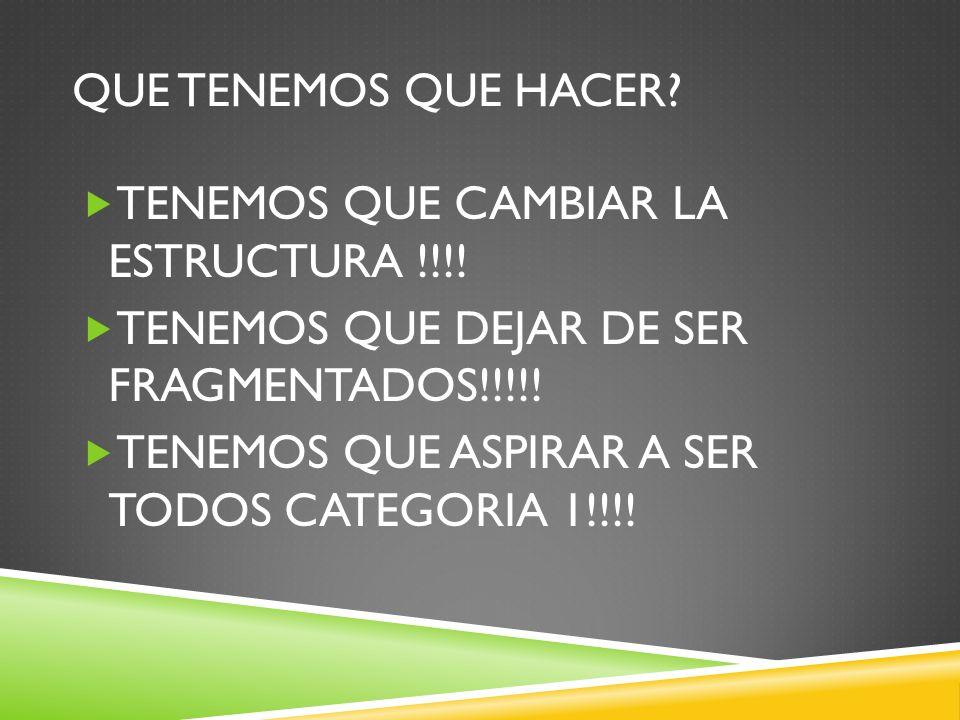 QUE TENEMOS QUE HACER? TENEMOS QUE CAMBIAR LA ESTRUCTURA !!!! TENEMOS QUE DEJAR DE SER FRAGMENTADOS!!!!! TENEMOS QUE ASPIRAR A SER TODOS CATEGORIA 1!!