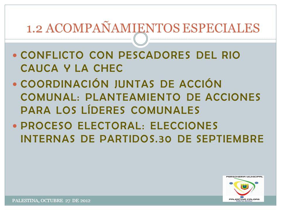 1.2 ACOMPAÑAMIENTOS ESPECIALES PALESTINA, OCTUBRE 27 DE 2012 CONFLICTO CON PESCADORES DEL RIO CAUCA Y LA CHEC COORDINACIÓN JUNTAS DE ACCIÓN COMUNAL: P