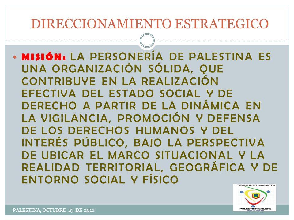 DIRECCIONAMIENTO ESTRATEGICO PALESTINA, OCTUBRE 27 DE 2012 VISIÓN : LA PERSONERÍA MUNICIPAL DE PALESTINA SE CONTINUARÁ PROYECTANDO PARA EL AÑO 2015 COMO EL EJE LOCAL QUE ARTICULA LA PARTICIPACIÓN DE LA CIUDADANÍA, LA DEFENSA DE LOS DERECHOS HUMANOS Y EL INTERÉS GENERAL CON LASM POLÍTCAS PÚBLICAS DEL DESARROLLO HUMANO, LA PREVENSIÓN, LA ÉTICA, LA EQUIDAD Y EL AMBIENTE, BAJO EL ENTENDIDO DE LA IDENTIFIACIÓN DE LA DINÁMICA DE ENTORNO, SOCIEDAD Y TERRITORIO