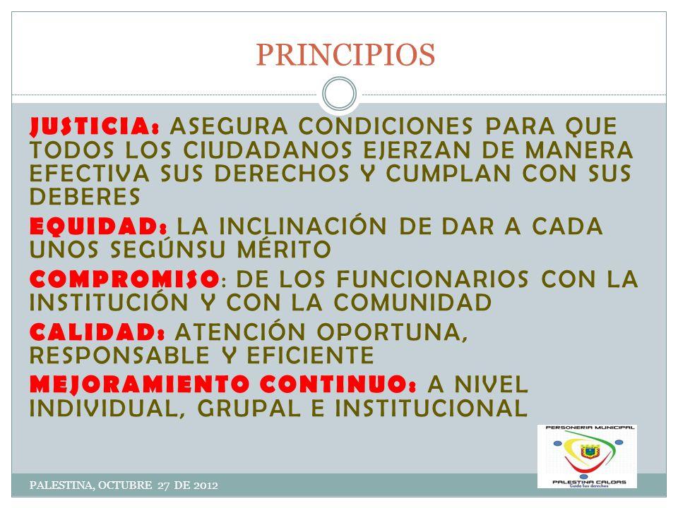 OBJETIVOS PALESTINA, OCTUBRE 27 DE 2012 VELAR POR LA GUARDA Y PROMOCIÓN DE LOS DERECHOS HUMANOS INTERVINIENDO DE MANERA EFICAZ Y OPORTUNA EN LAS ACTUACIONES ADMINISTRATIVAS ADELANTAR ACCIONES PARA LA PROTECCIÓN DE LOS INTERESES PARTICULARES Y COLECTIVOS DE LOS PALESTINENSES VIGILAR LA CONDUCTA DE LOS SERVIDORES QUE CUMPLEN FUNCIONES PÚBLICAS DANDO TRÁMITE OPORTUNO A LAS QUEJAS O DE MANERA OFICIOSA IMPLEMENTAR HERRAMIENTAS QUE CONTRIBUYAN AL MEJORAMIENTO DE LOS PROCESOS Y QUE SE REFLEJEN EN LA CALIDAD EN LA PRESTACIÓN DE LOS SERVICIOS IMPLEMENTAR MECANISMOS DE FORMACIÓN Y PARTICIPACIÓN CIUDADANA MEDIANTE CAPACITACIONES EN DERECHOS, DEBERES, OBLIGACIONES Y TEMAS DE INTERÉS GENERAL