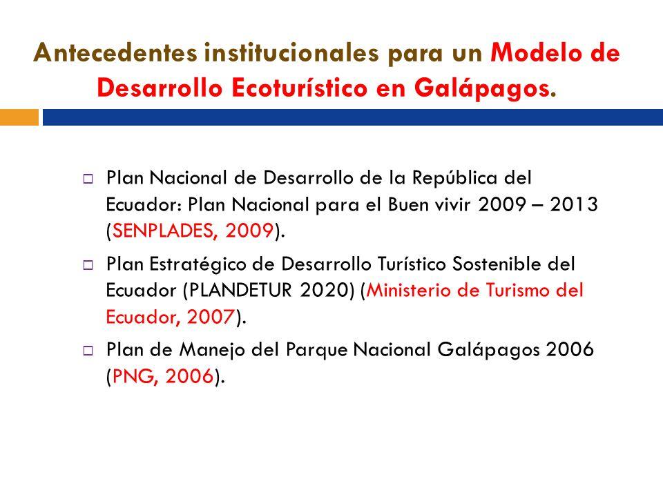 Antecedentes institucionales para un Modelo de Desarrollo Ecoturístico en Galápagos. Plan Nacional de Desarrollo de la República del Ecuador: Plan Nac