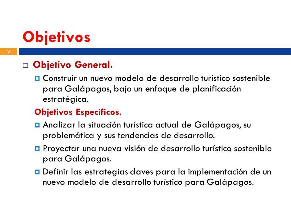 Objetivos Objetivo General. Construir un nuevo modelo de desarrollo turístico sostenible para Galápagos, bajo un enfoque de planificación estratégica.
