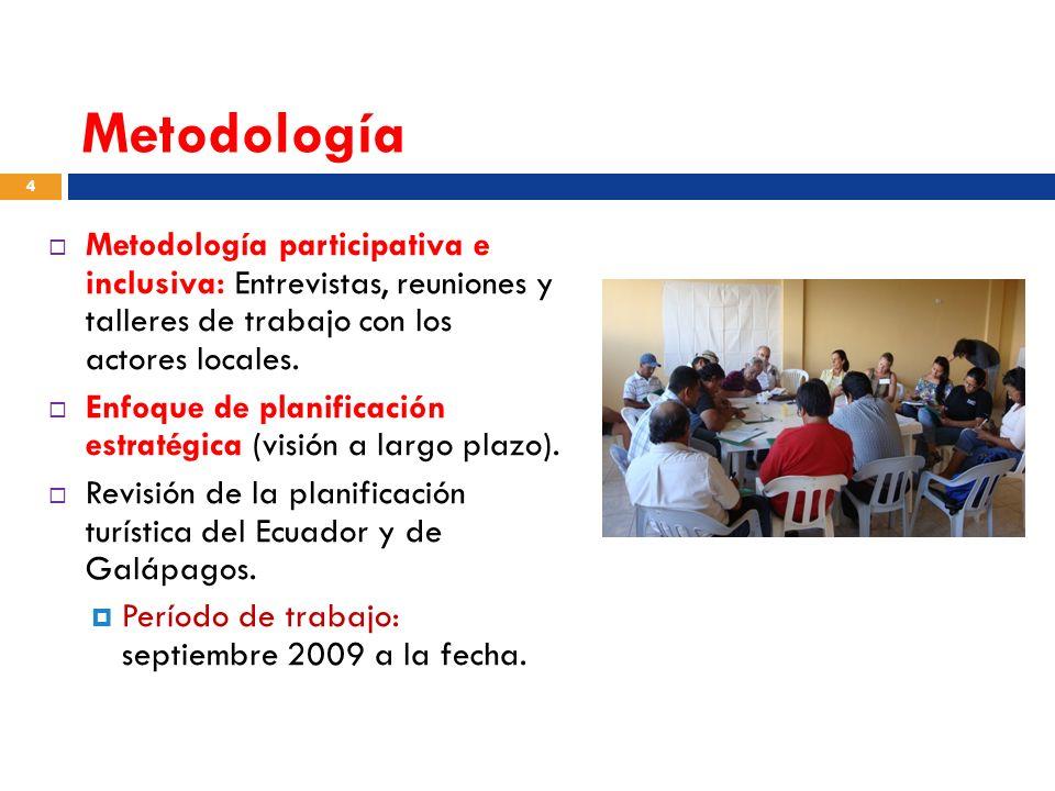 Metodología Metodología participativa e inclusiva: Entrevistas, reuniones y talleres de trabajo con los actores locales. Enfoque de planificación estr
