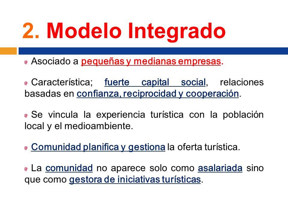 2. Modelo Integrado Asociado a pequeñas y medianas empresas. Característica; fuerte capital social, relaciones basadas en confianza, reciprocidad y co