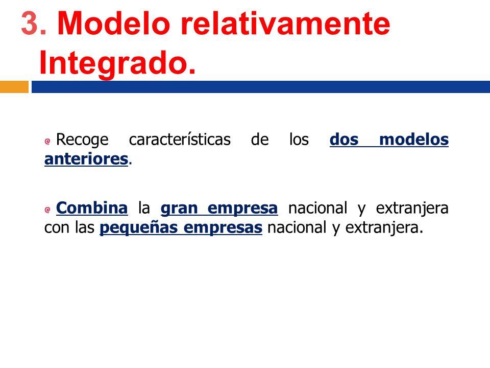 3. Modelo relativamente Integrado. Recoge características de los dos modelos anteriores. Combina la gran empresa nacional y extranjera con las pequeña
