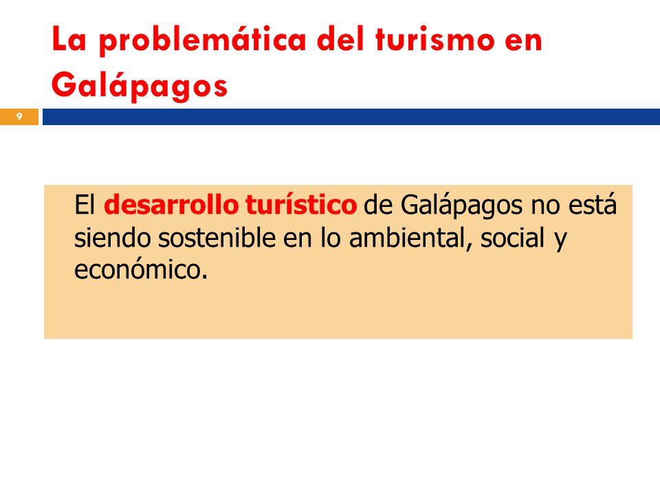 La problemática del turismo en Galápagos 9 El desarrollo turístico de Galápagos no está siendo sostenible en lo ambiental, social y económico.
