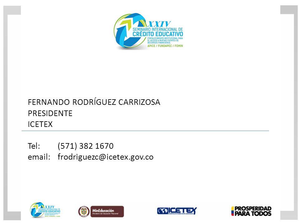 FERNANDO RODRÍGUEZ CARRIZOSA PRESIDENTE ICETEX Tel:(571) 382 1670 email: frodriguezc@icetex.gov.co