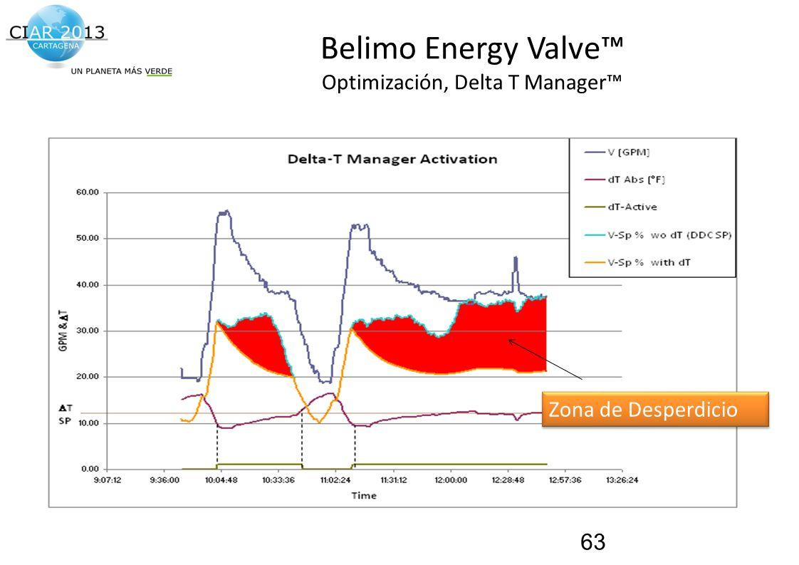 Traemos al presente el futuro de la construcción! Belimo Energy Valve Optimización, Delta T Manager 63 Zona de Desperdicio