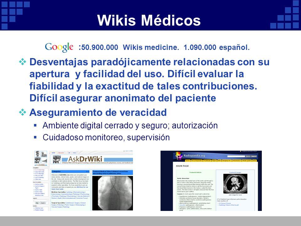 Wikis Médicos : 50.900.000 Wikis medicine. 1.090.000 español. Desventajas paradójicamente relacionadas con su apertura y facilidad del uso. Difícil ev