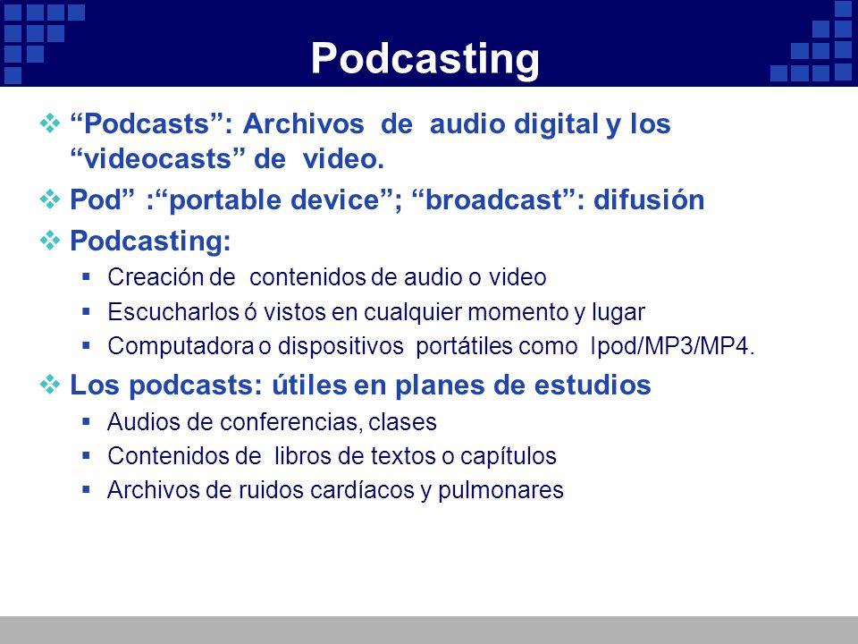 Podcasting Podcasts: Archivos de audio digital y los videocasts de video. Pod :portable device; broadcast: difusión Podcasting: Creación de contenidos