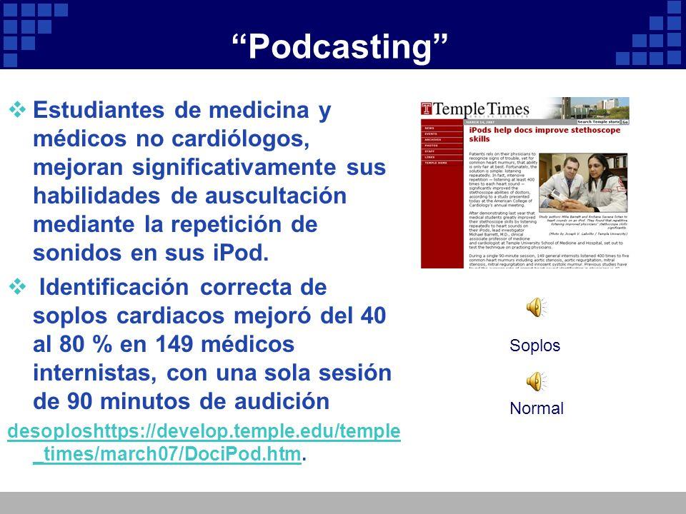Podcasting Estudiantes de medicina y médicos no cardiólogos, mejoran significativamente sus habilidades de auscultación mediante la repetición de soni