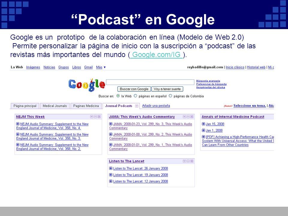 Podcast en Google Google es un prototipo de la colaboración en línea (Modelo de Web 2.0) Permite personalizar la página de inicio con la suscripción a