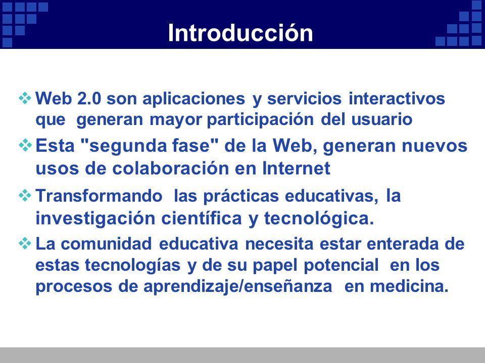 Introducción Web 2.0 son aplicaciones y servicios interactivos que generan mayor participación del usuario Esta