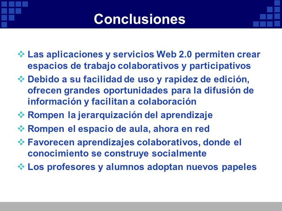 Conclusiones Las aplicaciones y servicios Web 2.0 permiten crear espacios de trabajo colaborativos y participativos Debido a su facilidad de uso y rap