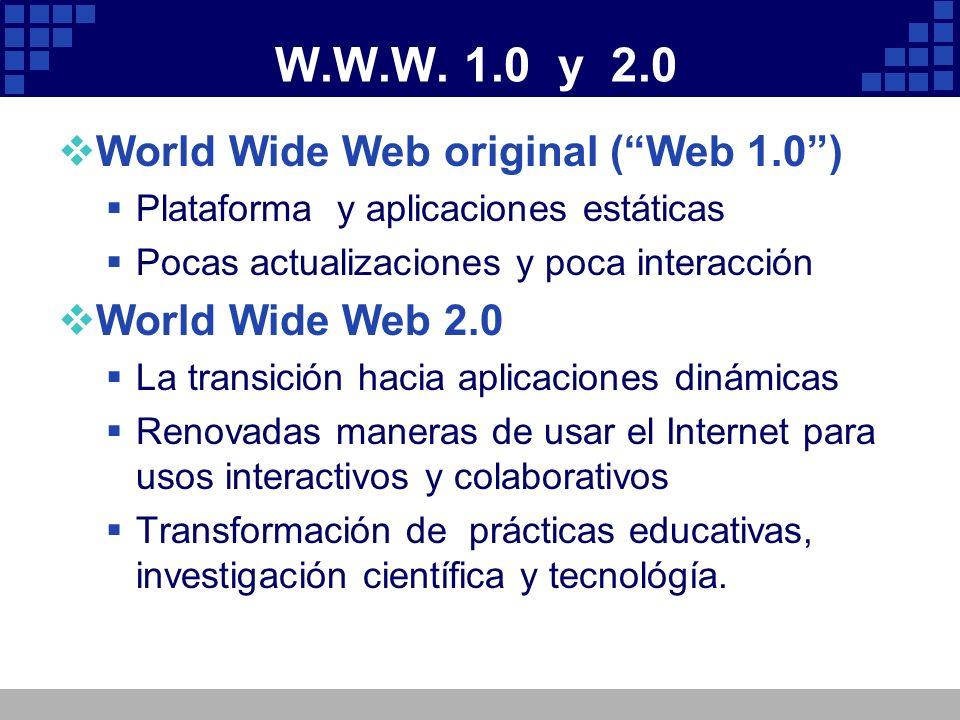 W.W.W. 1.0 y 2.0 World Wide Web original (Web 1.0) Plataforma y aplicaciones estáticas Pocas actualizaciones y poca interacción World Wide Web 2.0 La